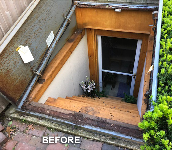 Old Trim Was Removed, Bulkhead Was Removed, New Pressure Treated Sill  Applied, New Bilco Bulkhead Installed, And New Trim Reinstalled.